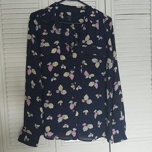 Blue floral womens blouse